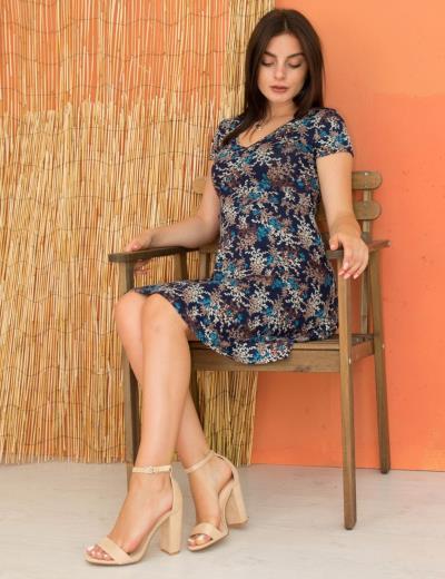 14c41937babf Γυναικείο γαλάζιο φόρεμα μίν κλος φλοράλ Benisssimo 91004