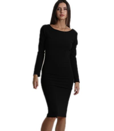 Φόρεμα midi μακρυμάνικο με αλυσίδες στην πλάτη μαύρο f97976f6146