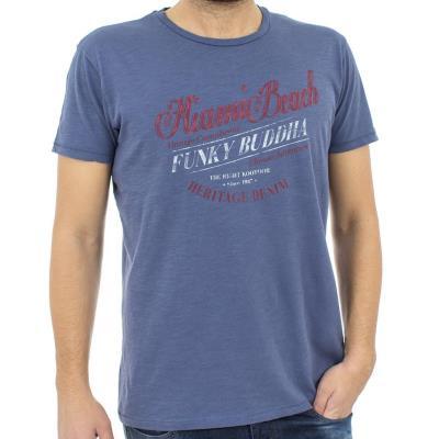 Ανδρικό Κοντομάνικη Μπλούζα T-shirt FUNKY BUDDHA FBM041-04118 ανοιχτό Μπλε 06107f30cfc