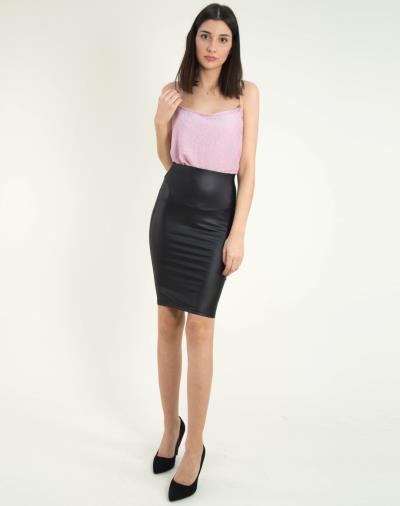 Γυναικεία μαύρη Pencil φούστα δερματίνη λάστιχο 014104042 91c875fab1f