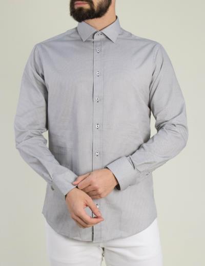 75fe6915952e Ανδρικό γκρι πουκάμισο μικροσχέδιο GioS 9085S19