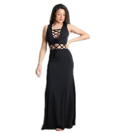 fb61cd7c2dbc Μάξι φόρεμα με δέσιμο και ανοίγματα Μαύρο